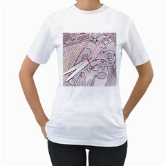 Newspaper Patterns Cutting Up Fabric Women s T-Shirt (White) (Two Sided)