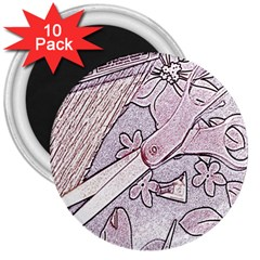 Newspaper Patterns Cutting Up Fabric 3  Magnets (10 pack)