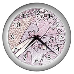 Newspaper Patterns Cutting Up Fabric Wall Clocks (Silver)