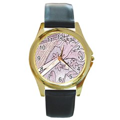 Newspaper Patterns Cutting Up Fabric Round Gold Metal Watch