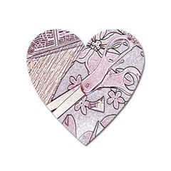 Newspaper Patterns Cutting Up Fabric Heart Magnet