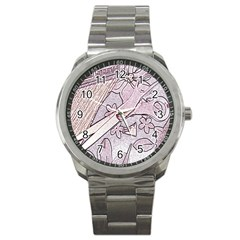 Newspaper Patterns Cutting Up Fabric Sport Metal Watch