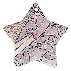Newspaper Patterns Cutting Up Fabric Star Ornament (Two Sides)