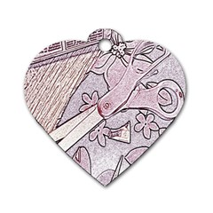 Newspaper Patterns Cutting Up Fabric Dog Tag Heart (Two Sides)