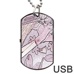 Newspaper Patterns Cutting Up Fabric Dog Tag Usb Flash (two Sides)