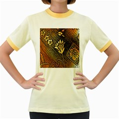 Orange Paper Patterns For Scrapbooking Women s Fitted Ringer T-Shirts