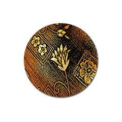 Orange Paper Patterns For Scrapbooking Magnet 3  (round)