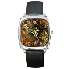 Orange Paper Patterns For Scrapbooking Square Metal Watch