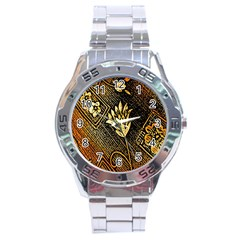 Orange Paper Patterns For Scrapbooking Stainless Steel Analogue Watch