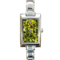 Olive Seamless Camouflage Pattern Rectangle Italian Charm Watch