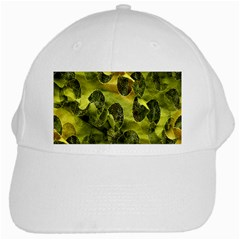 Olive Seamless Camouflage Pattern White Cap