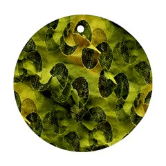 Olive Seamless Camouflage Pattern Ornament (round)