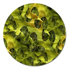 Olive Seamless Camouflage Pattern Magnet 5  (round)