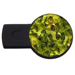 Olive Seamless Camouflage Pattern USB Flash Drive Round (2 GB)