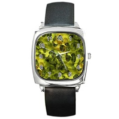Olive Seamless Camouflage Pattern Square Metal Watch