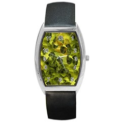 Olive Seamless Camouflage Pattern Barrel Style Metal Watch