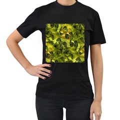 Olive Seamless Camouflage Pattern Women s T Shirt (black) (two Sided)