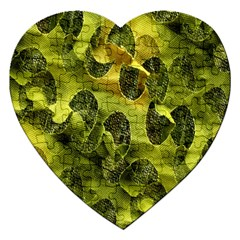 Olive Seamless Camouflage Pattern Jigsaw Puzzle (Heart)