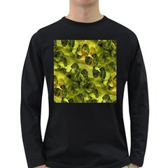 Olive Seamless Camouflage Pattern Long Sleeve Dark T-Shirts