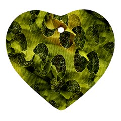 Olive Seamless Camouflage Pattern Heart Ornament (Two Sides)