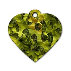 Olive Seamless Camouflage Pattern Dog Tag Heart (Two Sides)