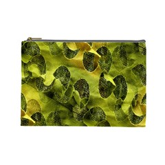 Olive Seamless Camouflage Pattern Cosmetic Bag (large)