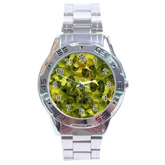 Olive Seamless Camouflage Pattern Stainless Steel Analogue Watch