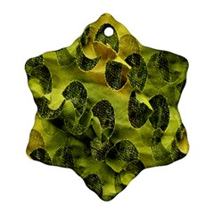 Olive Seamless Camouflage Pattern Snowflake Ornament (Two Sides)