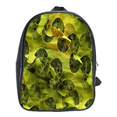 Olive Seamless Camouflage Pattern School Bags (XL)