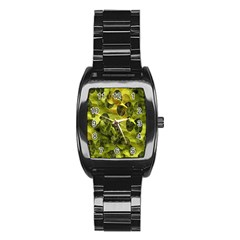 Olive Seamless Camouflage Pattern Stainless Steel Barrel Watch