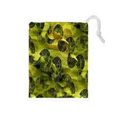 Olive Seamless Camouflage Pattern Drawstring Pouches (Medium)