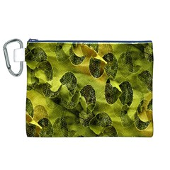 Olive Seamless Camouflage Pattern Canvas Cosmetic Bag (XL)