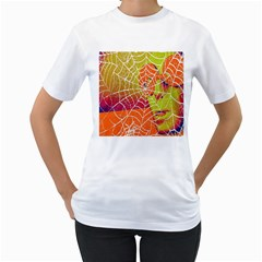 Orange Guy Spider Web Women s T-Shirt (White) (Two Sided)