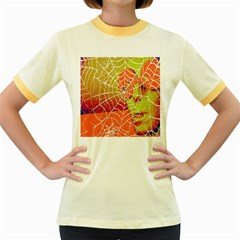 Orange Guy Spider Web Women s Fitted Ringer T Shirts