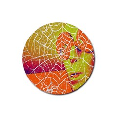Orange Guy Spider Web Rubber Round Coaster (4 pack)