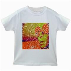 Orange Guy Spider Web Kids White T-Shirts