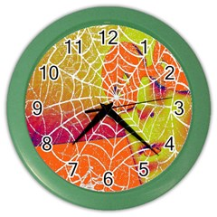 Orange Guy Spider Web Color Wall Clocks