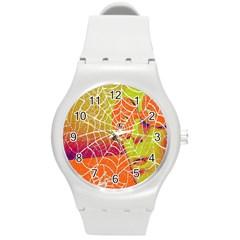Orange Guy Spider Web Round Plastic Sport Watch (m)