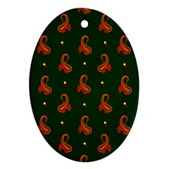 Paisley Pattern Oval Ornament (Two Sides)