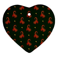 Paisley Pattern Heart Ornament (Two Sides)