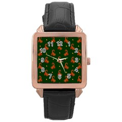 Paisley Pattern Rose Gold Leather Watch