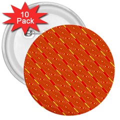 Orange Pattern Background 3  Buttons (10 pack)