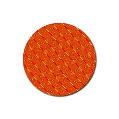 Orange Pattern Background Rubber Coaster (round)