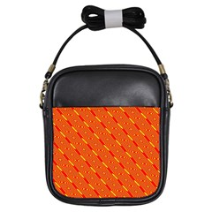 Orange Pattern Background Girls Sling Bags
