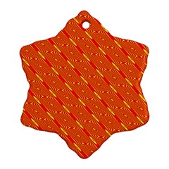 Orange Pattern Background Snowflake Ornament (Two Sides)