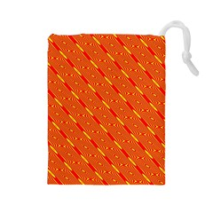 Orange Pattern Background Drawstring Pouches (large)