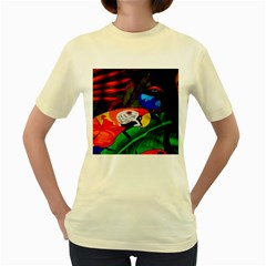 Papgei Red Bird Animal World Towel Women s Yellow T-Shirt