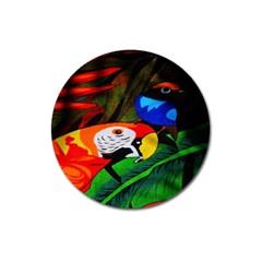 Papgei Red Bird Animal World Towel Magnet 3  (round)