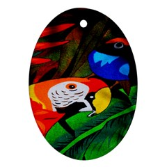 Papgei Red Bird Animal World Towel Oval Ornament (Two Sides)