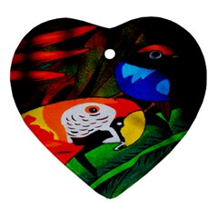 Papgei Red Bird Animal World Towel Heart Ornament (Two Sides)